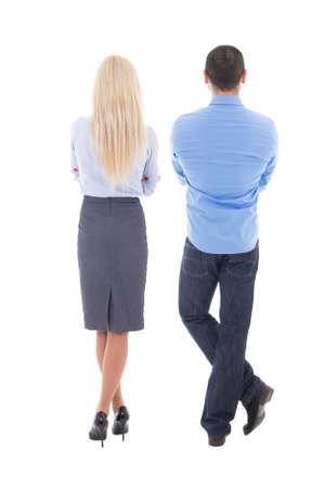 hombre flaco: vista posterior de mujer de negocios joven y el hombre aislado en el fondo blanco