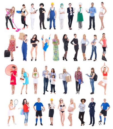diferentes profesiones: gran grupo de personas diversas aislado en fondo blanco