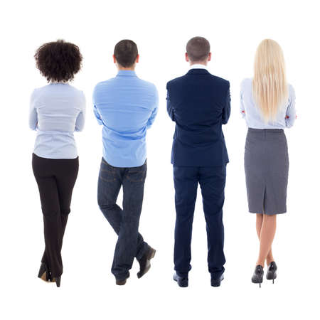 personas de espalda: vista posterior de jóvenes empresarios aislados sobre fondo blanco