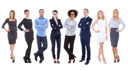 large set of young business people isolated on white background