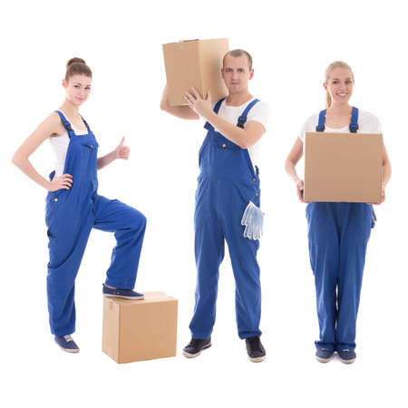 delivery concept - people in workwear holding cardboard boxes isolated on white background photo