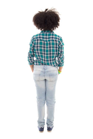 checkered background: back view of african american teenage girl isolated on white background