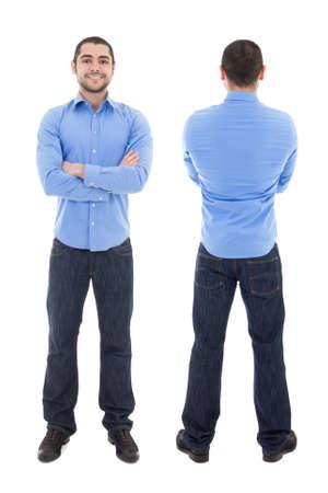 espalda: vista frontal y posterior de hombre de negocios árabe en la camisa azul aislada en el fondo blanco