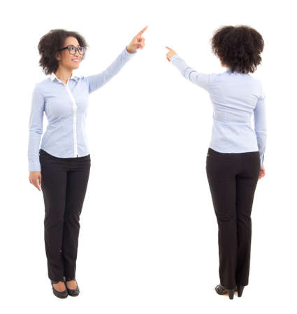 front and back view of african american business woman pointing at something isolated on white background Stock Photo