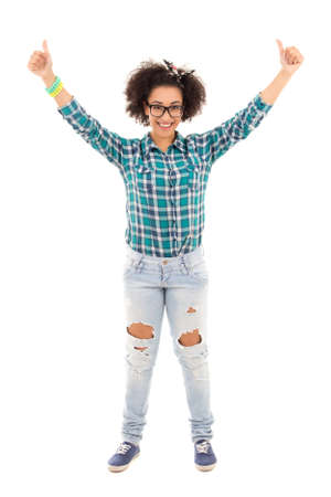 happy beautiful african american teenage girl thumbs up isolated on white background photo