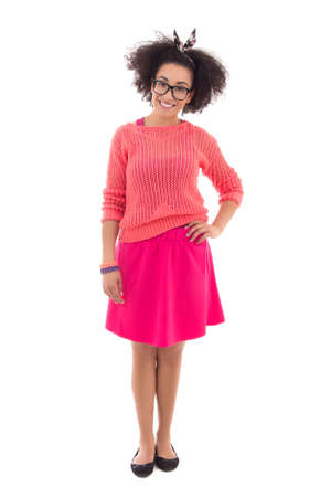 pink posing: pretty african american teenage girl in pink posing isolated on white background Stock Photo