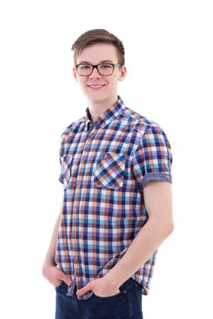 portrait of handsome teenage boy isolated on white background