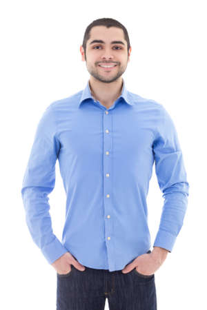arab adult: handsome arabic business man in blue shirt isolated on white background