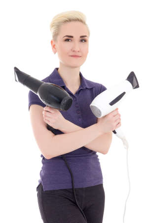 hair stylist: beautiful woman hair stylist with hairdryers isolated on white background Stock Photo