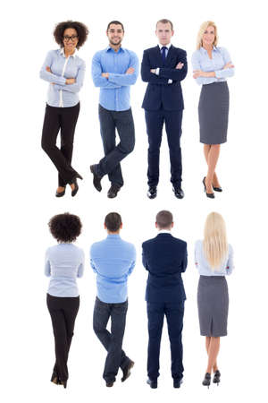 front view: back and front view of young business people isolated on white background Stock Photo