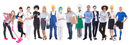 diferentes profesiones: equipo de negocios concepto - conjunto de diferentes personas aisladas sobre fondo blanco