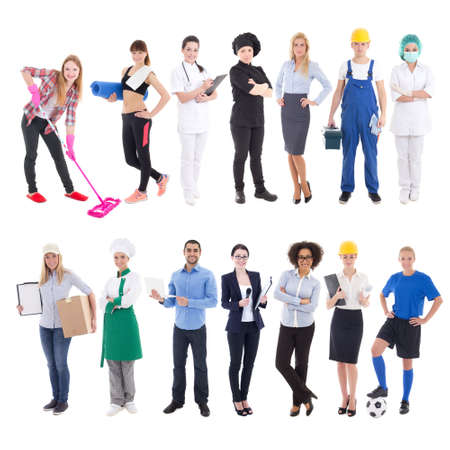professions concept - set of different people isolated on white background