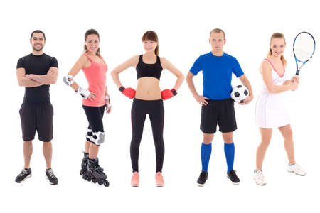 different sports concept - young people in spotswear over white background photo