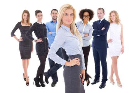 liderazgo empresarial: concepto de liderazgo - joven y bella mujer de negocios y sus colegas aislaron sobre fondo blanco Foto de archivo