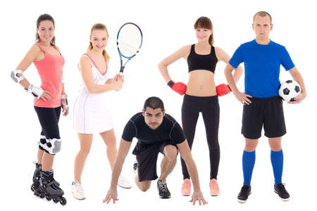 different sports concept - people in spotswear isolated on white background