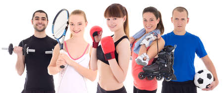 sport concept - bodybuilder, female tennis player, woman in boxer gloves, roller and soccer player isolated on white background photo