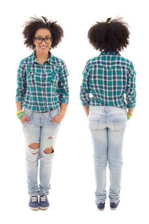 cute teen girl: front and back view of beautiful african american teenage girl isolated on white backround Stock Photo