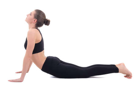 young woman doing stretching exercises isolated on white background
