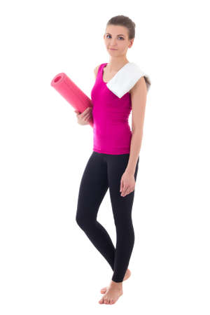 toung beautiful slim woman with yoga mat isolated on white background photo