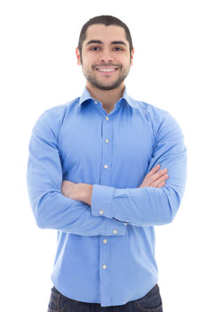 arab teen: arabic business man in blue shirt isolated on white background Stock Photo