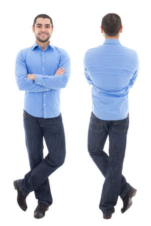 front and back view of young arabic business man in blue shirt isolated on white background Фото со стока