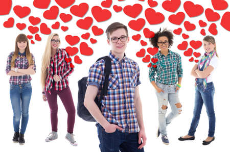 popular: popular boy in school - portrait of handsome teenage boy with girls in love over white background Stock Photo