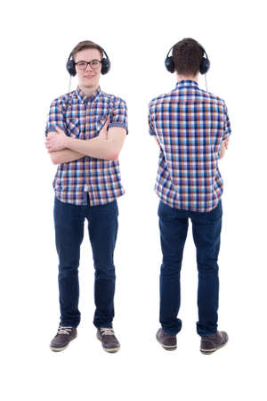 handsome teenage guy: front and back view of handsome teenage boy with headphones isolated on white background