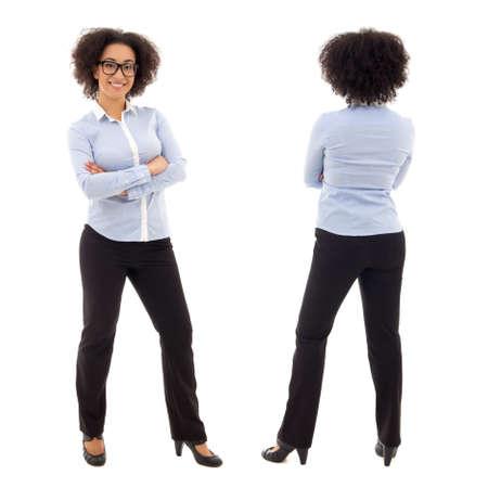 espalda: vista frontal y posterior del joven africano americano mujer de negocios aislados en fondo blanco