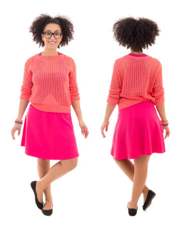 pink posing: front and back view of african american teenage girl in pink posing isolated on white background