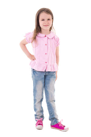 little girl posing: pretty little girl posing isolated on white background Stock Photo