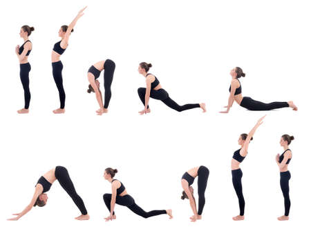 salutation: beautiful slim woman in yoga sun salutation sequence poses isolated on white background Stock Photo