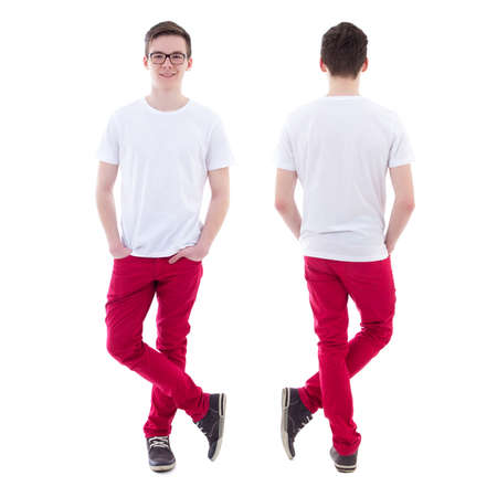 front and back view of young man standing isolated on white background Standard-Bild