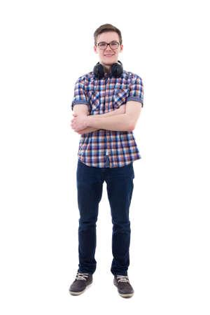 persona de pie: adolescente guapo con auriculares aisladas sobre fondo blanco