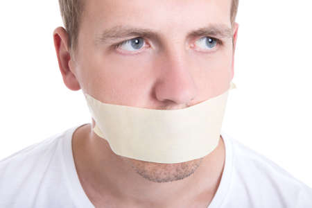 gagged: man with tape over his mouth isolated on white background Stock Photo