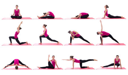sport concept -beautiful slim sporty woman doing yoga in different poses on pink mat isolated on white background