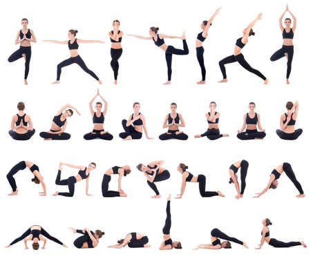 sport concept - beautiful slim woman in different yoga poses isolated on white background