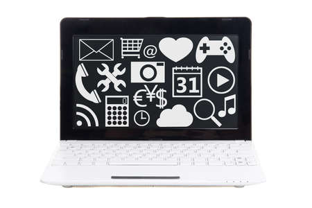 laptop screen: laptop with media icons on screen isolated on white background Stock Photo