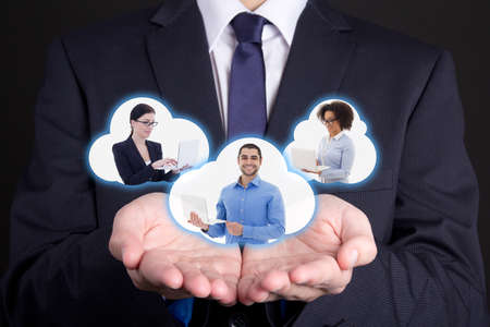 international business and internet concept - clouds with business people in male hands