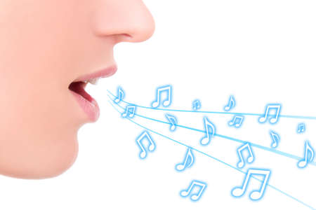 girl open mouth: music concept - female mouth singing over white background