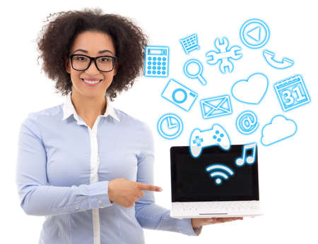 american downloads: beautiful african american business woman holding laptop with different applications over white background