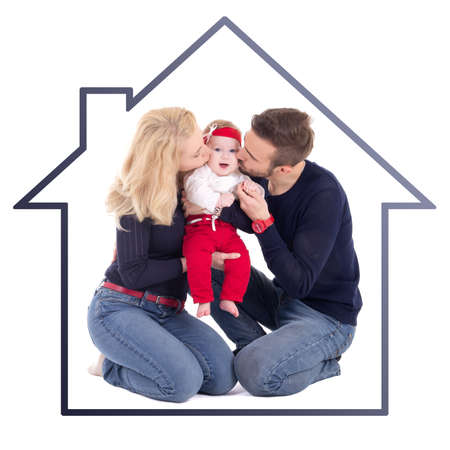 family isolated: happy family concept - father and mother kissing little daughter in house frame isolated on white background Stock Photo