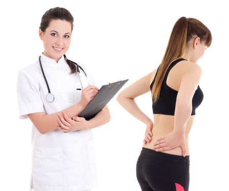 young female doctor and sporty girl with injury isolated on white background Stock Photo