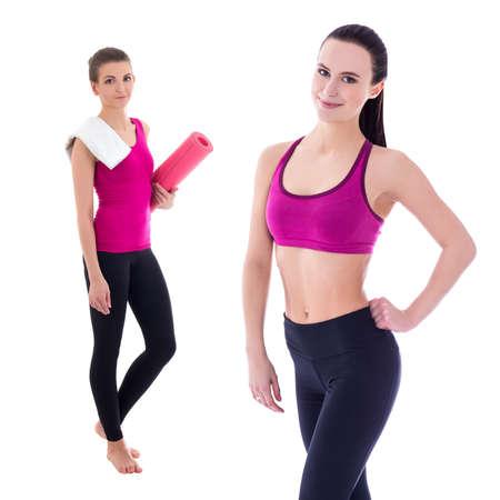 slim women: two slim women in sports wear isolated on white background