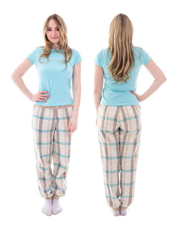 front and back view of young woman in pajamas isolated on white background Standard-Bild