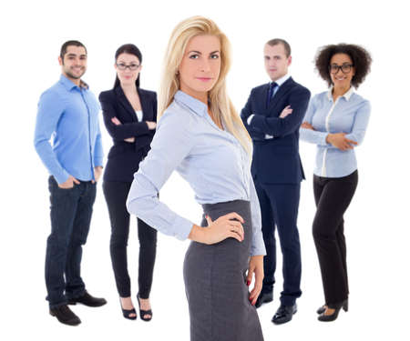 business leadership: leadership concept - young beautiful business woman and her  colleagues isolated on white background Stock Photo