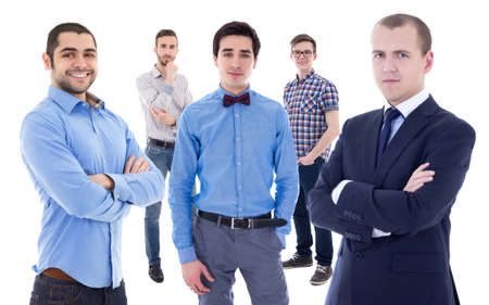 collegue: business team concept - portrait of young handsome business men isolated on white background