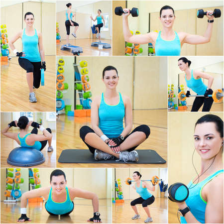 weightloss plan: collage of young beautiful sporty woman doing different exercises in gym