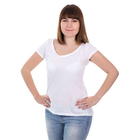 overweight students: happy beautiful plus size woman in blank white t-shirt isolated on white background