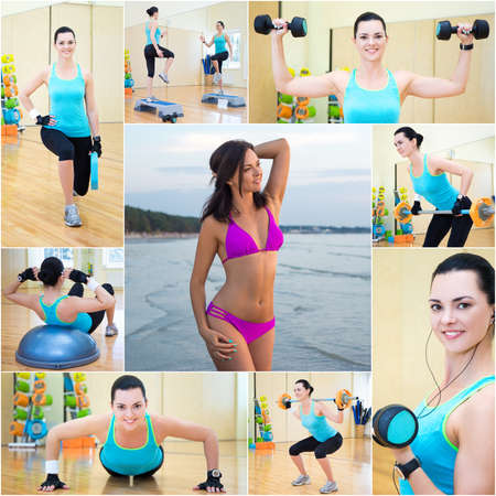 collage of beautiful sporty slim woman in gym and on the beach