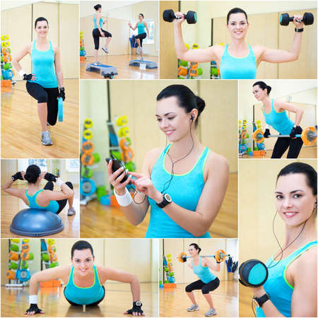 weightloss plan: collage of young slim beautiful sporty woman doing different exercises in gym